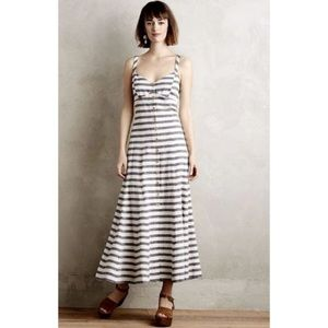 Maeve linen striped maxi dress